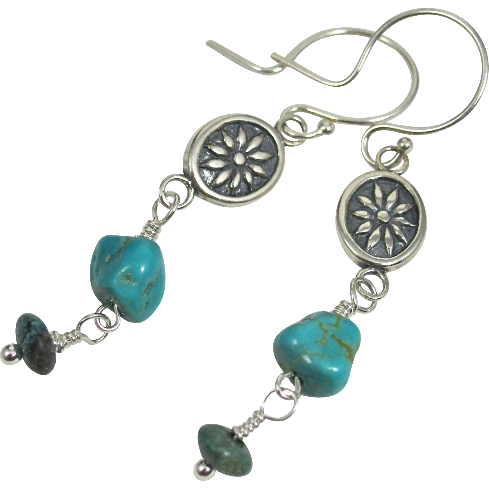 Drop Earrings ~ THE OPEN ROAD ~ Stabilized Turquoise, Howlite, Sterling Silver