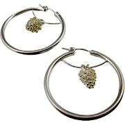 Hoop Earrings ~ SILVER PINES ~ Sterling Silver