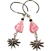 Drop Earrings ~ GREAT PINK COMETS ~ Rhodochrosite, Sterling Silver