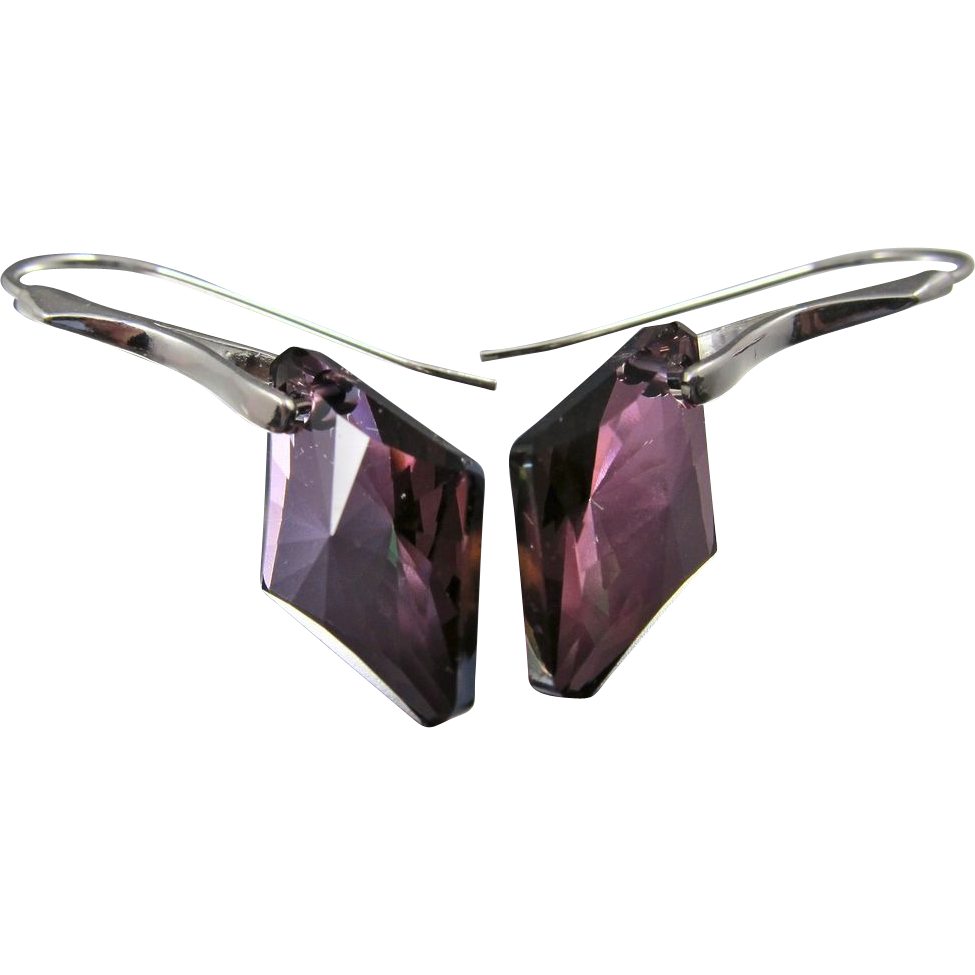 Drop Earrings ~ PLUM PERFECT ~ Swarovski & Sterling
