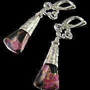 Drop Earrings ~ PINK PIXIES ~ Pink Obsidian, Sterling Silver