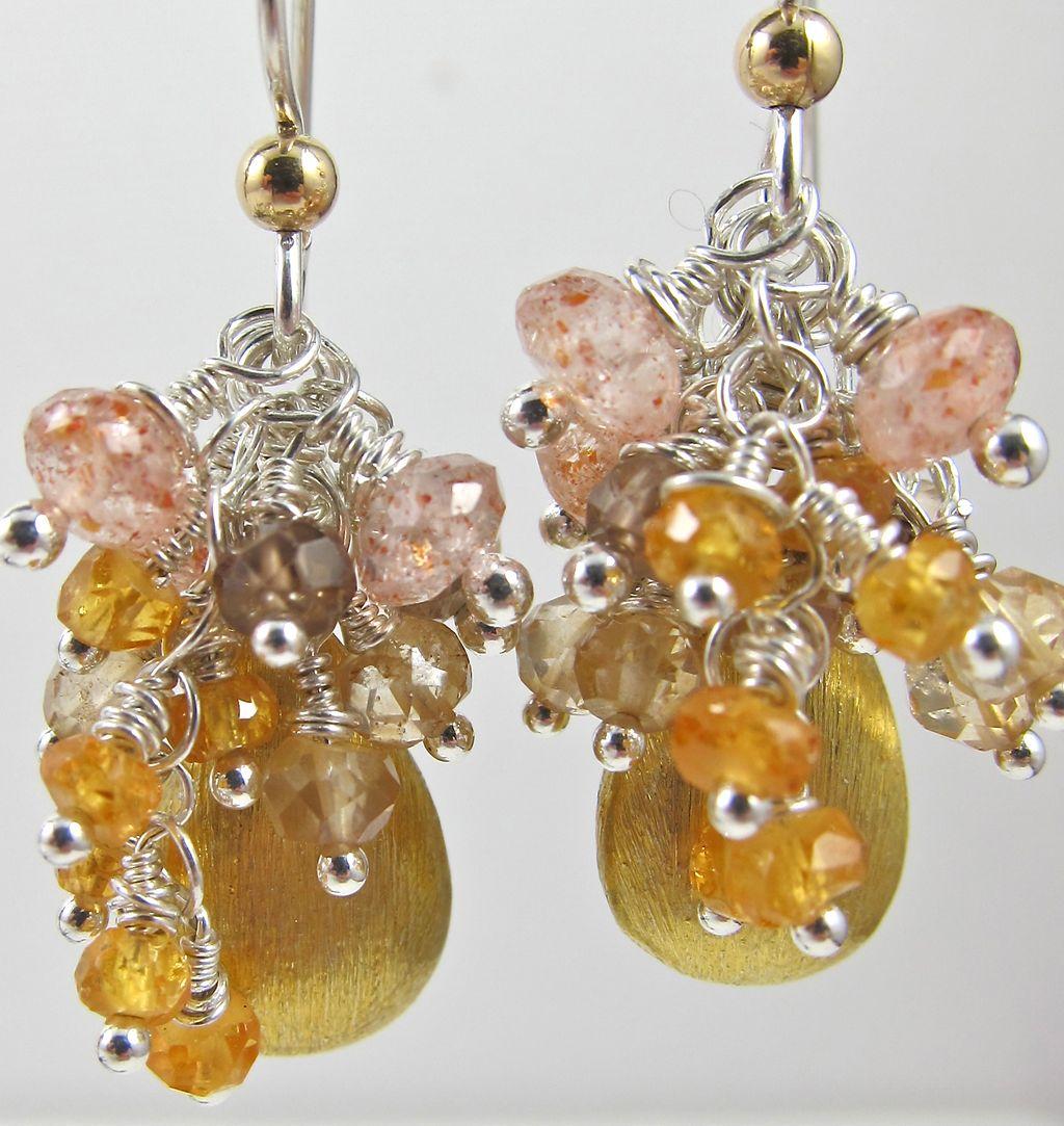Earrings ~ GOLDILOCKS ~ Vermeil Teardrops & Tiny Gemstones