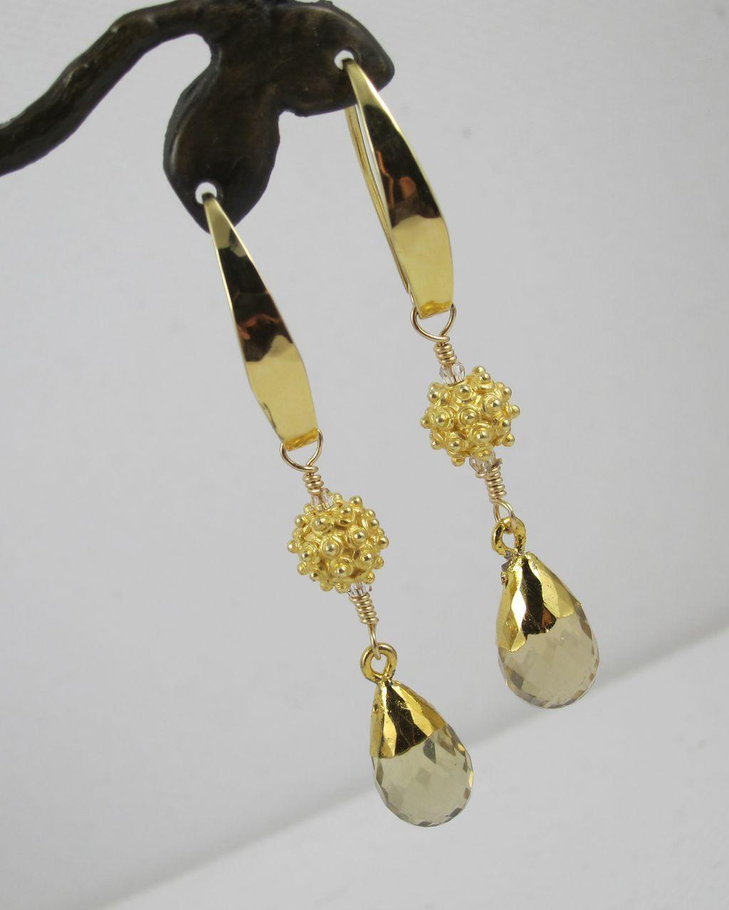 Earrings ~ SKY ROCKETS ~ Gold Leaf, Citrine, Vermeil, Bronze
