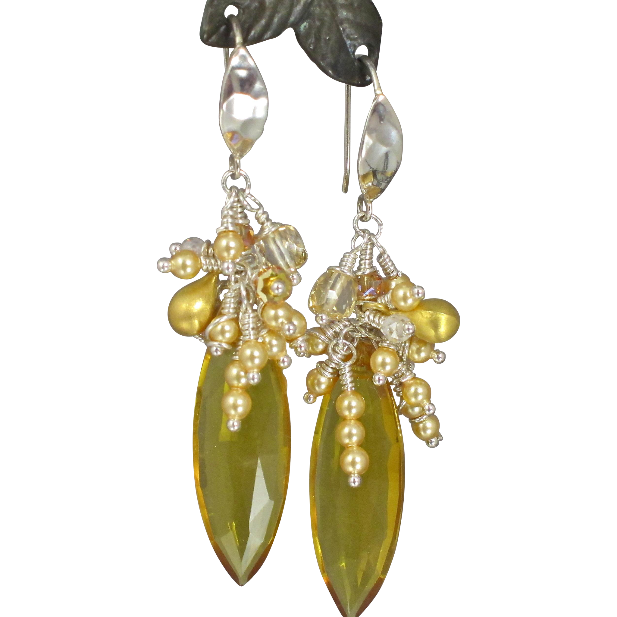 Cluster Earrings ~ SUNFLOWERS ~ Citrine, Sunstone, CF Pearls, Sterling