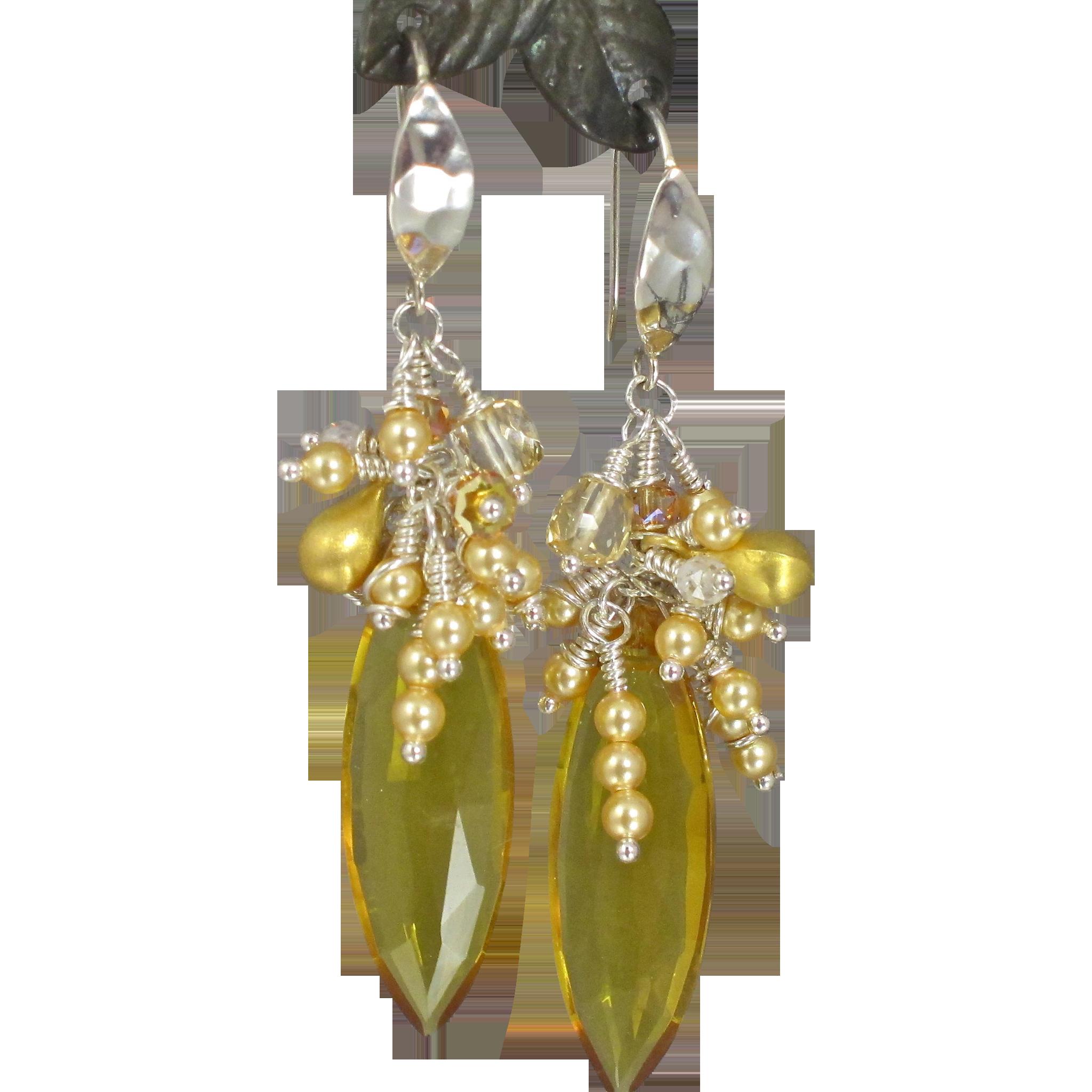 Cluster Earrings ~ SUNFLOWERS ~ Citrine, Sunstone, CF Pearls, Sterling