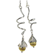 Drop Earrings ~ SWING STEP ~ Sterling Silver & Vermeil