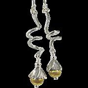 Drop Earrings ~ SWING STEP ~ Sterling Silver & Vermeil