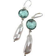 Earrings ~ TIDEPOOL DANCERS ~ Teal Quartz, Biwa Pearls, Sterling Silver