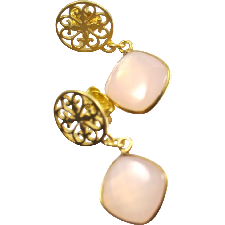Drop Earrings ~ CANTERBURY PINKS ~ Rose quartz, Vermeil