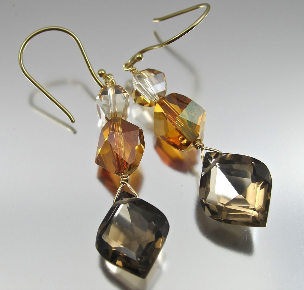 Earrings ~ AMBER LIGHTS ~ Smoky Quartz & Swarovski Crystals