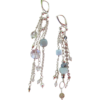 "Earrings ~ WHISPERS ~ Asymmetric Shoulder Dusters from the ""Chandelier Collection"""