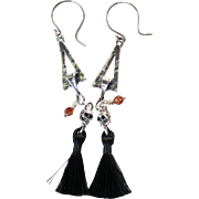 Tasselated Drop Earrings ~ WICKED ~ Sterling Silver, Tassels, Swarovski Crystals
