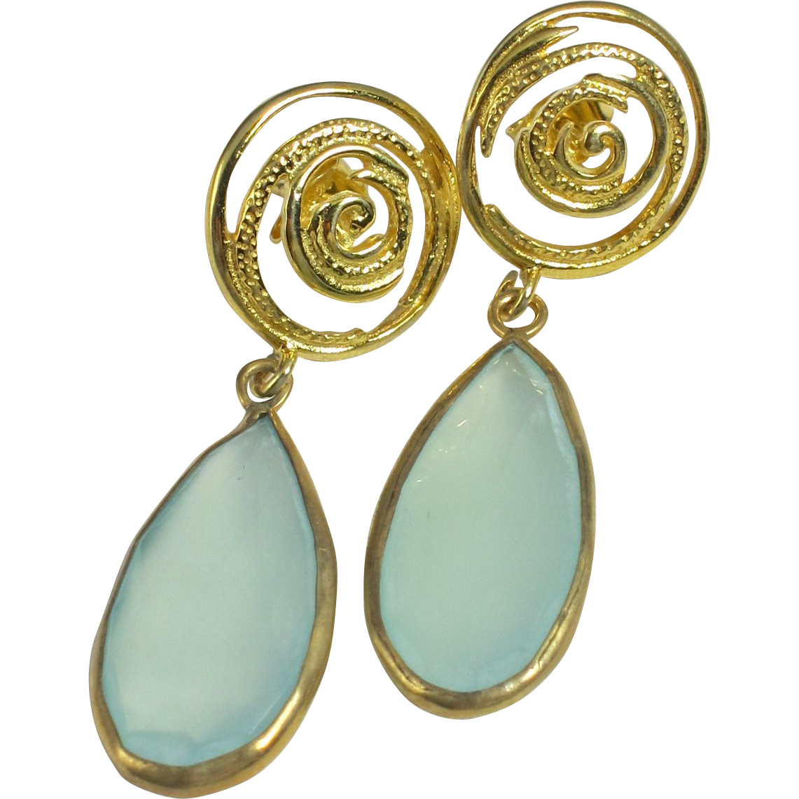 Drop Earrings ~ WATER WHORLS ~ Prehnite, Vermeil