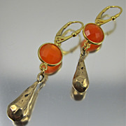 Drop Earrings ~ HOT FLASH ~ Carnelian, Bronze, Vermeil