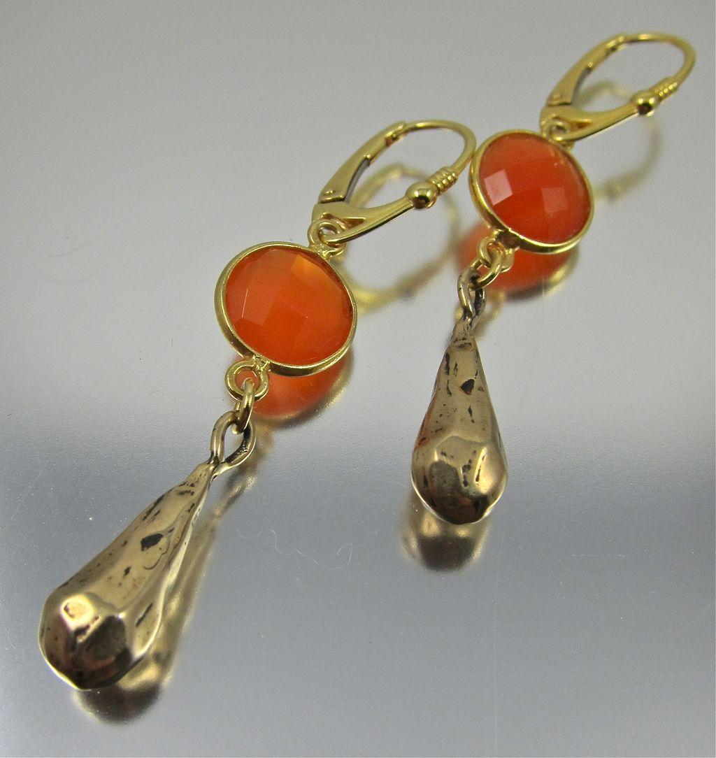 Drop Earrings ~ HOT FLASH ~ Carnelian, Bronze, Vermeil