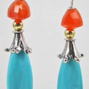 Earrings ~ CAPRICE ~ Sleeping Beauty Turquoise & Carnelian - Red Tag Sale Item