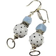 Drop Earrings ~ SPECKLED ORBS ~ Blue Peruvian Opal, Artisan Lampwork, Sterling Silver