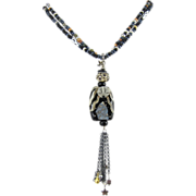 Pendant Necklace ~ THE ELDER ~ Artisan Lampwork Focal, Sterling Silver, Japanese Seed Beads
