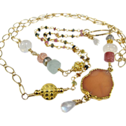 "Necklace Pendant ~  MOON KEEPERS ~ from the ""Shield Maiden"" Collection, Angel-Skin Moonstone,  Rainbow Moonstone, Sunstone, Gold-Fill, Tourmaline, Aquamarine"