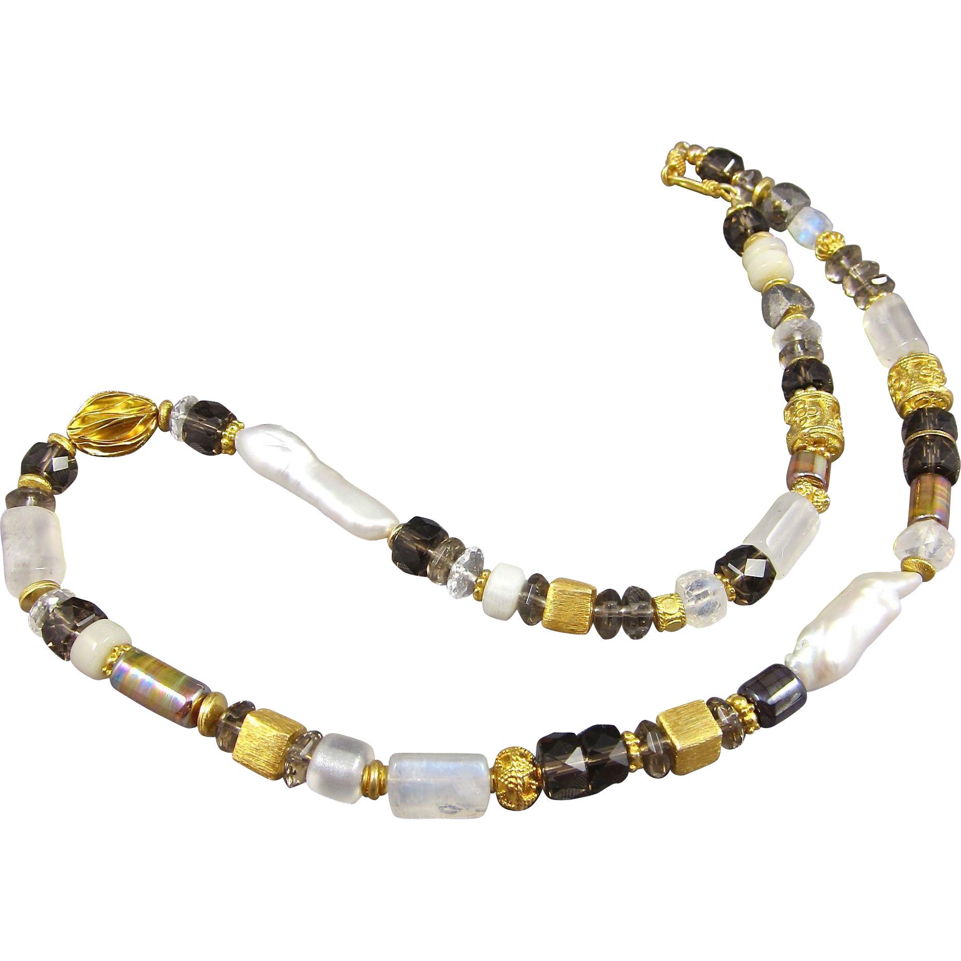 Necklace ~ THE DOWRY ~ Smoky Quartz, Moonstone, Cultured Freshwater Biwa Pearls, Vermeil, Lampwork