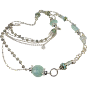 Multi Strand Station Necklace ~ ALICE IN THE SNOW ~ Aquamarine, Prasiolite, Grey Moonstone, Sterling Silver, Artisan Lampwork