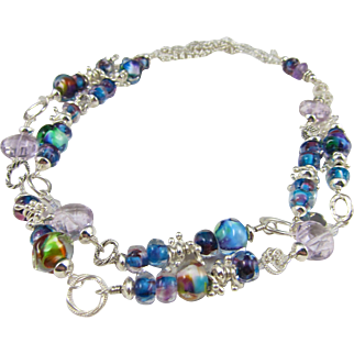 Long Necklace ~ AMAZING BLUES ~ Artisan Lampwork, Pink Amethyst, Sterling Silver