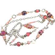 Long Necklace ~ THE BIRTHDAY CAKE NECKLACE ~ Artisan Lampwork, Peruvian Pink Opal, Rhodochrosite, Sterling Silver
