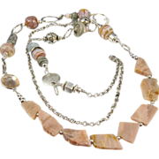 Body Necklace ~ BROKEN PROMISES ~ Pink Opal Shards, Artisan Lampwork, Sterling Silver