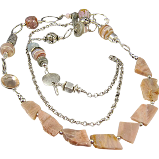 Body Necklace ~ BROKEN PROMISES ~ Pink Opal Shards, Artisan Lampwork, Sterling Silver