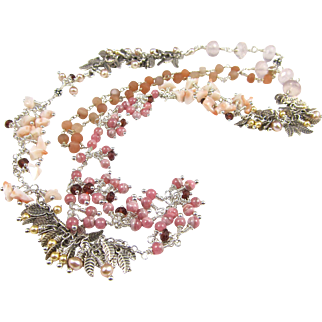 Long Necklace ~ PINK CONFECTION ~ Rhodochrosite, Peruvian Pink Opal, Peach Moonstone, Rose Quartz, Garnet, Cultured Freshwater Pearls, Sterling