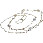 "42"" Necklace ~ CRYSTAL PALACE ~ Rock Crystal Quartz, Moonstone, Sterling Silver"