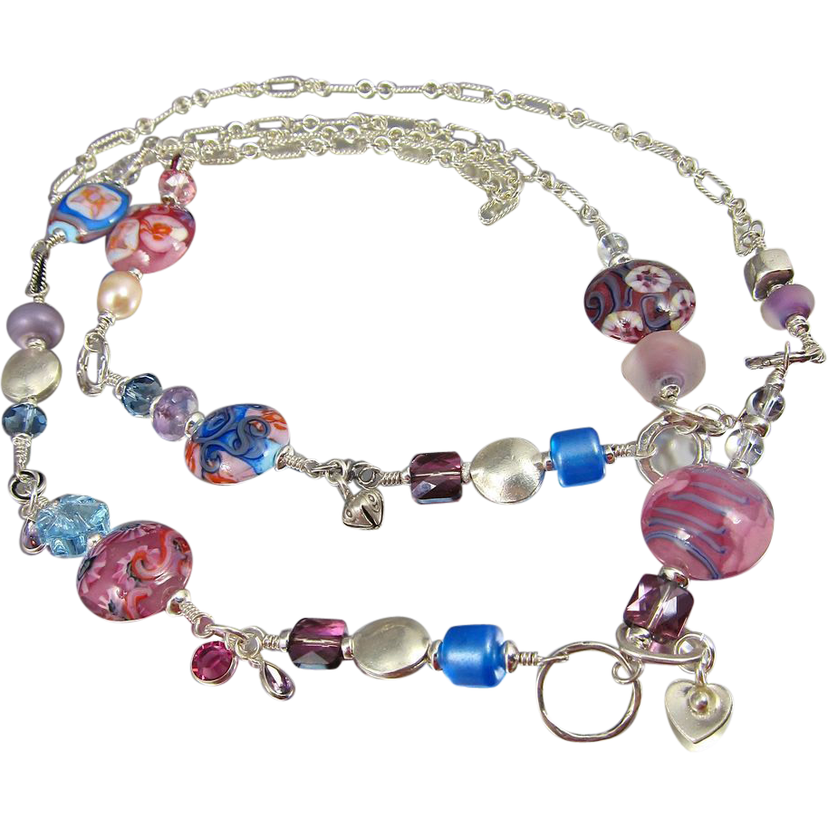 Body Necklace ~ DAMSON DAMSELS ~ Designer Lampwork, Sterling Silver