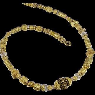 Necklace Pendant ~  GILDED CELEBRATIONS ~ Vermeil, Gold Fill, Bali, Swarovski Crystal