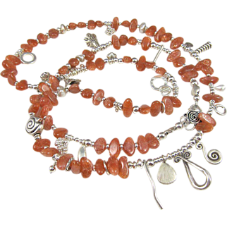 Long Necklace ~ THE KHALEESI ~ Sunstone, Thai Hill Tribes & Fine Silver, CF Grey Pearls