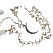 Multi Stand Necklace ~ A LADY WHO'S BEEN TO THE MOON ~ Moonstone, Howlite, Sterling, Diamonds