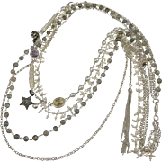 Multi Strand Long Necklace ~ A LADY WHO'S BEEN TO THE MOON ~ Moonstone, Pearls, Diamonds