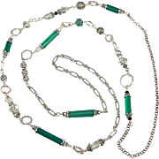 Opera Length Necklace ~ MISTRESS OF OZ ~ Green Chalcedony, Prasiolite, Bali Sterling Silver