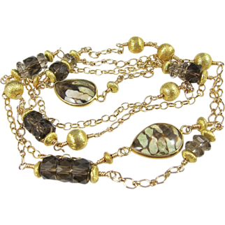 Long Necklace ~ A SENSE OF SABLE ~ Smoky Quartz, Jasper, Gold-Fill, Vermeil