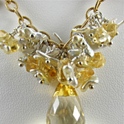 Necklace ~ SPUN SUGAR ~ Akoya Pearls, Citrine, Gold-Fill