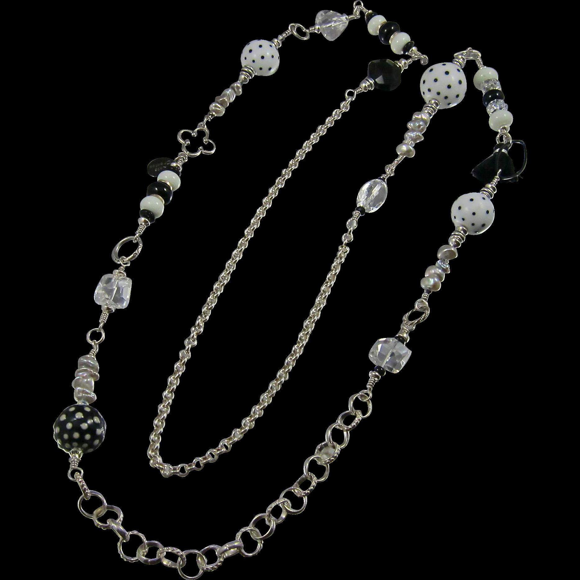 """42"""" Long Necklace ~ TUXEDO PARC ~ A Black & White Melange"""