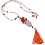 Tasselated Pendant Necklace ~ RED TYGER ~ Red Coral, Carnelian, Rose Quartz, Seed Beads, CF Pearls, Swarovski Pearls