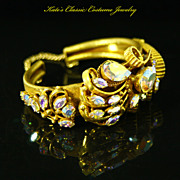 Clamper Cuff Bracelet -- Double Hinged & Aurora Borealis Rhinestones -- Unsigned Selro