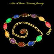 Egyptian Revival Scarab Belt – Multicolored Lucite Cabochons – 70s
