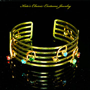 Cuff Bracelet – Musical Notes – 12 Karat Gold Filled Wire Work – 30s – Signed