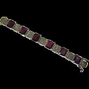 Art Deco style Amethyst Glass & Marcasite Bracelet – Sterling