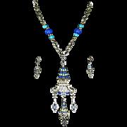 Hobe Signed Asian Themed Pendant & Earrings – faux Lapis & Turquoise