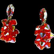 Lewis Segal Crystal Aurora Borealis Cha-Cha Dangle Earrings – Brilliant Orange