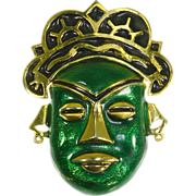 Polcini Mask/Tribal Face Pin/Pendant – 60s –Green Enamel