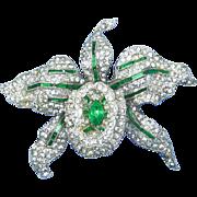 KTF Trifari Alfred Philippe Pave Rhinestone & Emerald Orchid Pin-Book Piece-1936