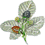 Pennino Large Leaf & Berries Pin – Pave Rhinestones & Enamel